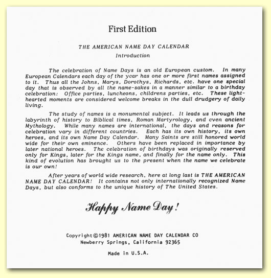 Introduction of The American Name Day Calendar of First Names - 1982